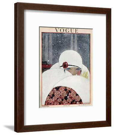 Vogue Cover - January 1919-Georges Lepape-Framed Premium Giclee Print