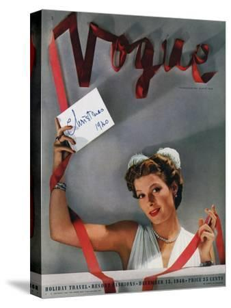 Vogue Cover - December 1940-John Rawlings-Stretched Canvas Print
