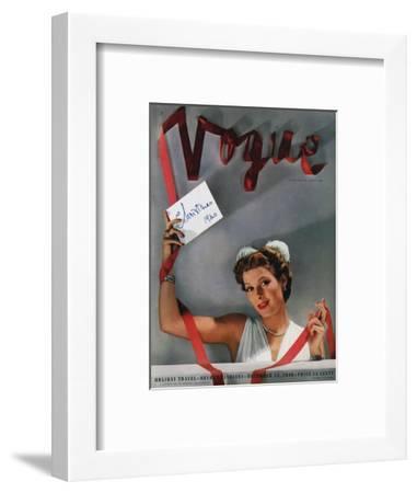 Vogue Cover - December 1940-John Rawlings-Framed Premium Giclee Print