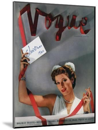 Vogue Cover - December 1940-John Rawlings-Mounted Premium Giclee Print