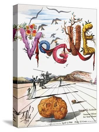 Vogue Cover - April 1944 - Dali's Surealist Vogue-Salvador Dal?-Stretched Canvas Print