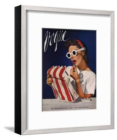 Vogue Cover - July 1939 - Lipstick, Quick!-Horst P. Horst-Framed Premium Giclee Print