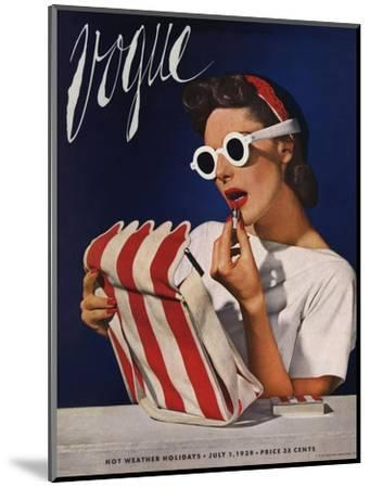 Vogue Cover - July 1939 - Lipstick, Quick!-Horst P. Horst-Mounted Premium Giclee Print