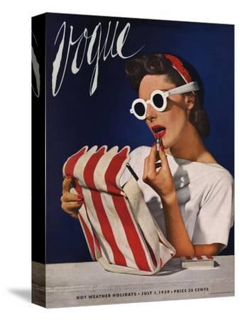 Vogue Cover - July 1939 - Lipstick, Quick!-Horst P. Horst-Stretched Canvas Print