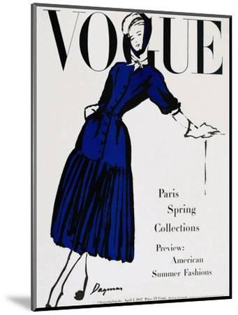 Vogue Cover - April 1947 - Black and Blue-Dagmar-Mounted Premium Giclee Print