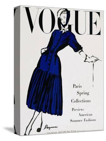 Vogue Cover - April 1947 - Black and Blue-Dagmar-Stretched Canvas Print