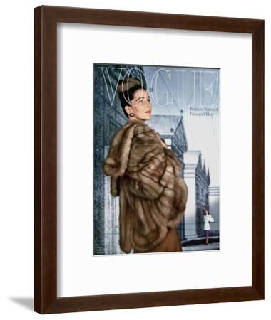 Vogue Cover - August 1945-John Rawlings-Framed Premium Giclee Print