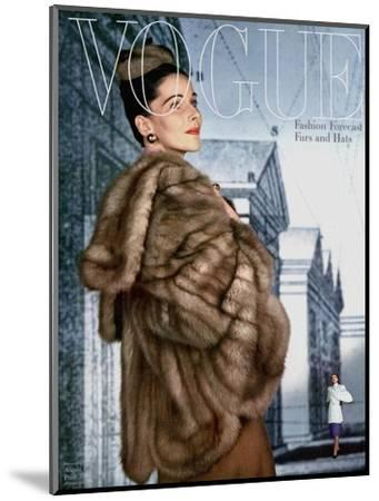 Vogue Cover - August 1945-John Rawlings-Mounted Premium Giclee Print