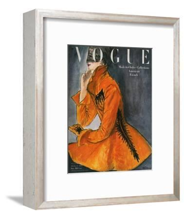 Vogue Cover - October 1947-Ren? R. Bouch?-Framed Premium Giclee Print