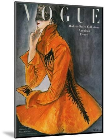 Vogue Cover - October 1947-Ren? R. Bouch?-Mounted Premium Giclee Print