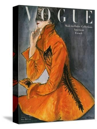 Vogue Cover - October 1947-Ren? R. Bouch?-Stretched Canvas Print