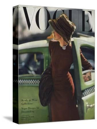 Vogue Cover - September 1945-Constantin Joff?-Stretched Canvas Print