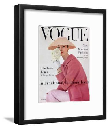 Vogue Cover - March 1956-Karen Radkai-Framed Premium Giclee Print