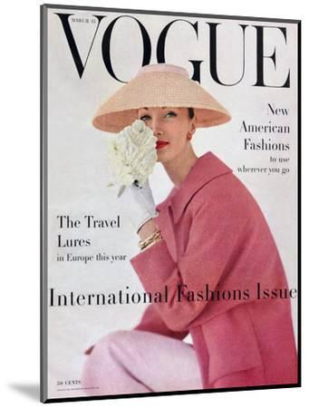 Vogue Cover - March 1956-Karen Radkai-Mounted Premium Giclee Print