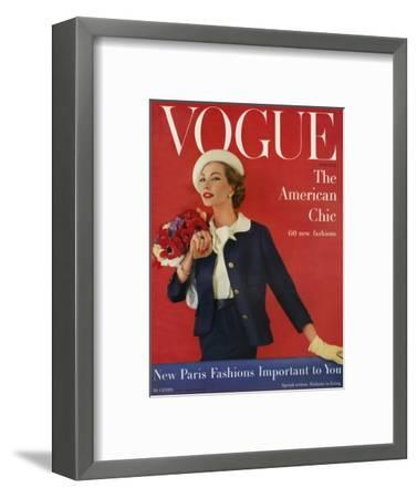 Vogue Cover - March 1957-Karen Radkai-Framed Premium Giclee Print