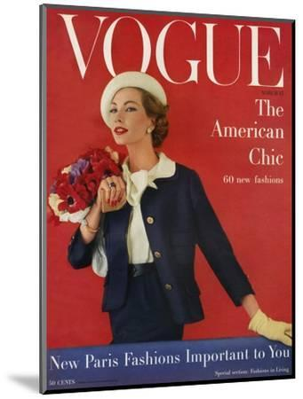 Vogue Cover - March 1957-Karen Radkai-Mounted Premium Giclee Print