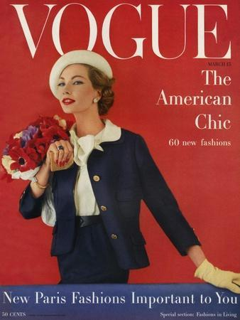 Vogue Cover - March 1957-Karen Radkai-Stretched Canvas Print