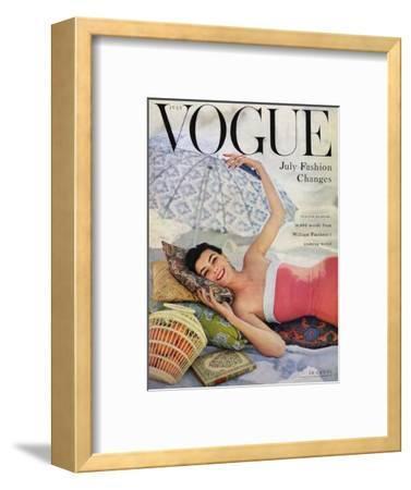 Vogue Cover - July 1954 - Beach Babe-Karen Radkai-Framed Premium Giclee Print