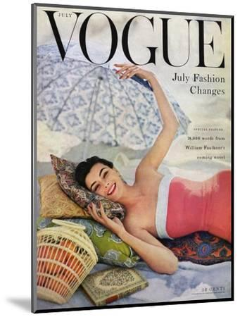 Vogue Cover - July 1954 - Beach Babe-Karen Radkai-Mounted Premium Giclee Print