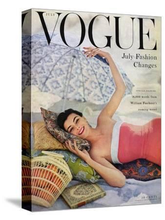 Vogue Cover - July 1954 - Beach Babe-Karen Radkai-Stretched Canvas Print