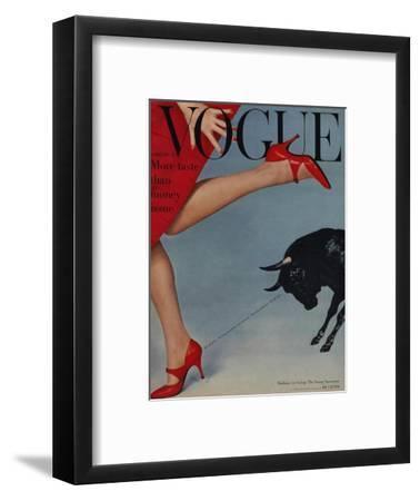 Vogue Cover - February 1958 - Running with the Bulls-Richard Rutledge-Framed Premium Giclee Print