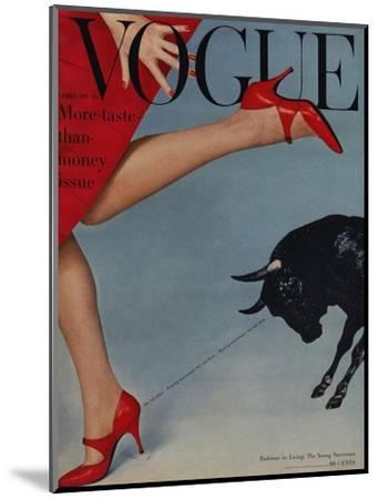 Vogue Cover - February 1958 - Running with the Bulls-Richard Rutledge-Mounted Premium Giclee Print