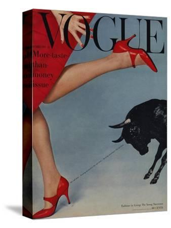 Vogue Cover - February 1958 - Running with the Bulls-Richard Rutledge-Stretched Canvas Print