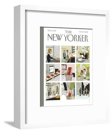 The New Yorker Cover - February 25, 2008-Adrian Tomine-Framed Premium Giclee Print