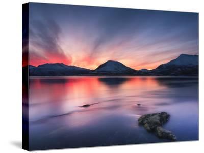 Sunset over Tjeldsundet, Troms County, Norway-Stocktrek Images-Stretched Canvas Print