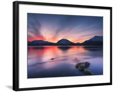 Sunset over Tjeldsundet, Troms County, Norway-Stocktrek Images-Framed Photographic Print