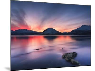 Sunset over Tjeldsundet, Troms County, Norway-Stocktrek Images-Mounted Photographic Print
