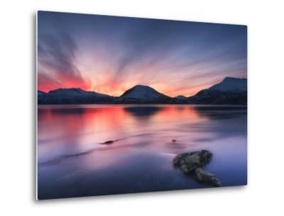 Sunset over Tjeldsundet, Troms County, Norway-Stocktrek Images-Metal Print