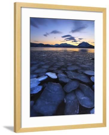 Ice Flakes Drifting Towards the Mountains on Tjeldoya Island, Norway-Stocktrek Images-Framed Photographic Print