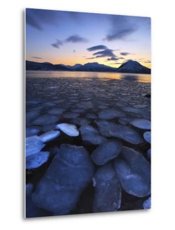Ice Flakes Drifting Towards the Mountains on Tjeldoya Island, Norway-Stocktrek Images-Metal Print