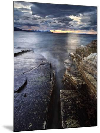 Midnight Sun over Vagsfjorden in Troms County, Norway-Stocktrek Images-Mounted Photographic Print