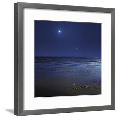 Venus Shines Brightly Below the Crescent Moon from Coast of Buenos Aires, Argentina-Stocktrek Images-Framed Photographic Print