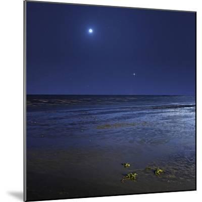 Venus Shines Brightly Below the Crescent Moon from Coast of Buenos Aires, Argentina-Stocktrek Images-Mounted Photographic Print