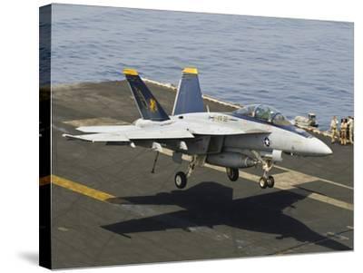 An F/A-18E Super Hornet Trap Landing on the Flight Deck of USS Harry S. Truman-Stocktrek Images-Stretched Canvas Print