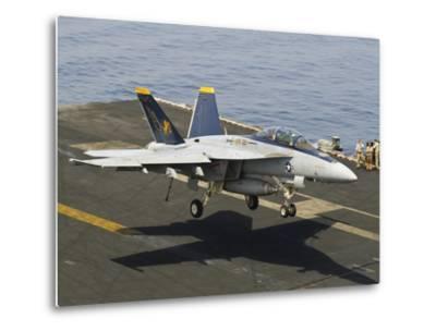 An F/A-18E Super Hornet Trap Landing on the Flight Deck of USS Harry S. Truman-Stocktrek Images-Metal Print