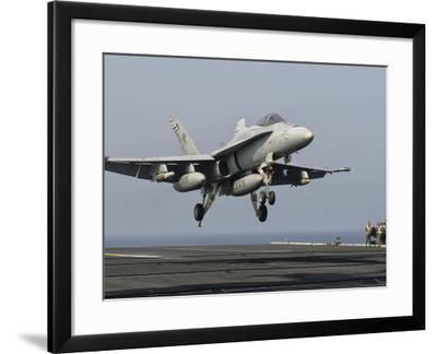 A US Navy F/A-18C Hornet Prepares to Land Aboard USS Eisenhower-Stocktrek Images-Framed Photographic Print