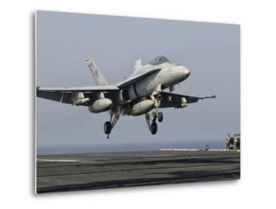 A US Navy F/A-18C Hornet Prepares to Land Aboard USS Eisenhower-Stocktrek Images-Metal Print