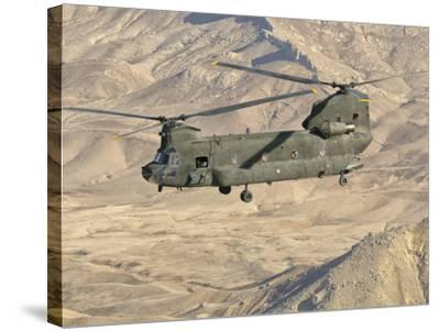 Italian Army CH-47C Chinook Helicopter in Flight over Afghanistan-Stocktrek Images-Stretched Canvas Print