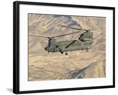 Italian Army CH-47C Chinook Helicopter in Flight over Afghanistan-Stocktrek Images-Framed Photographic Print