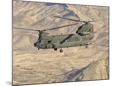 Italian Army CH-47C Chinook Helicopter in Flight over Afghanistan-Stocktrek Images-Mounted Photographic Print