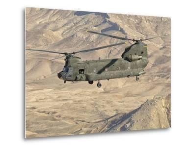 Italian Army CH-47C Chinook Helicopter in Flight over Afghanistan-Stocktrek Images-Metal Print