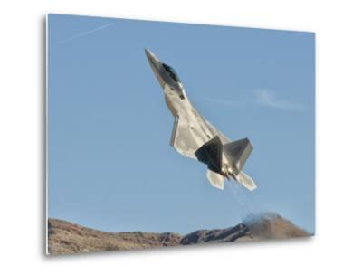 A U.S. Air Force F-22 Raptor Takes Off from Nellis Air Force Base, Nevada-Stocktrek Images-Metal Print