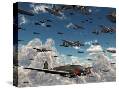German Heinkel He 111 Bombers Gather over the English Channel-Stocktrek Images-Stretched Canvas Print