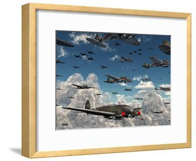 German Heinkel He 111 Bombers Gather over the English Channel-Stocktrek Images-Framed Photographic Print