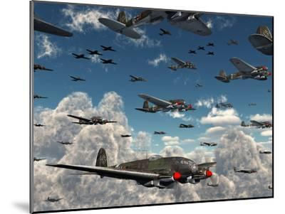 German Heinkel He 111 Bombers Gather over the English Channel-Stocktrek Images-Mounted Photographic Print