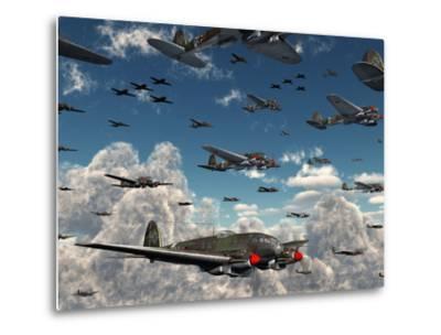 German Heinkel He 111 Bombers Gather over the English Channel-Stocktrek Images-Metal Print